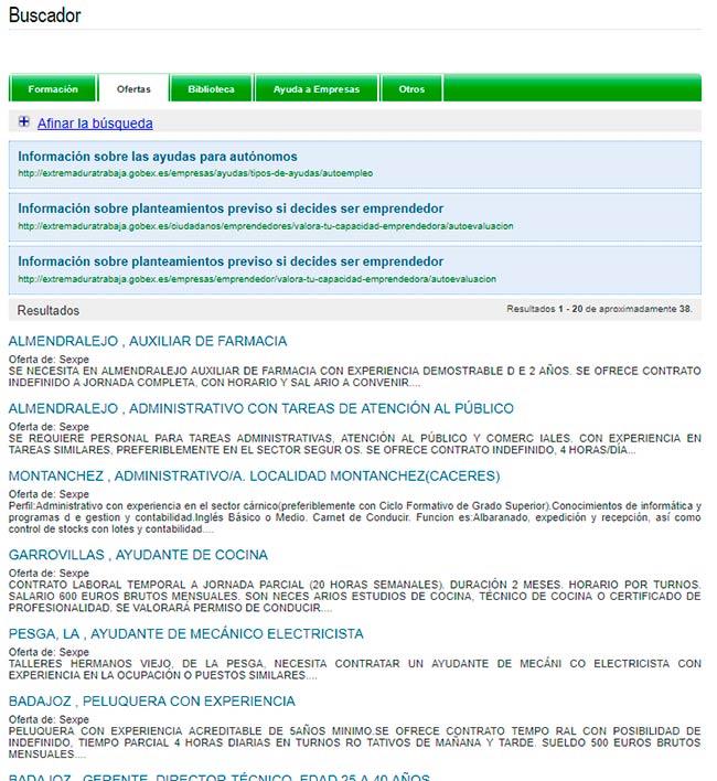Ofertas de empleo disponibles en Extremadura Work