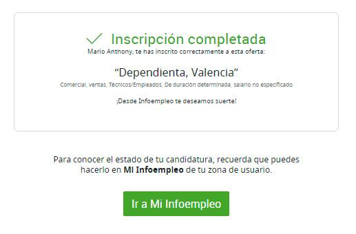 Registro completo en la oferta de trabajo de Infoempleo