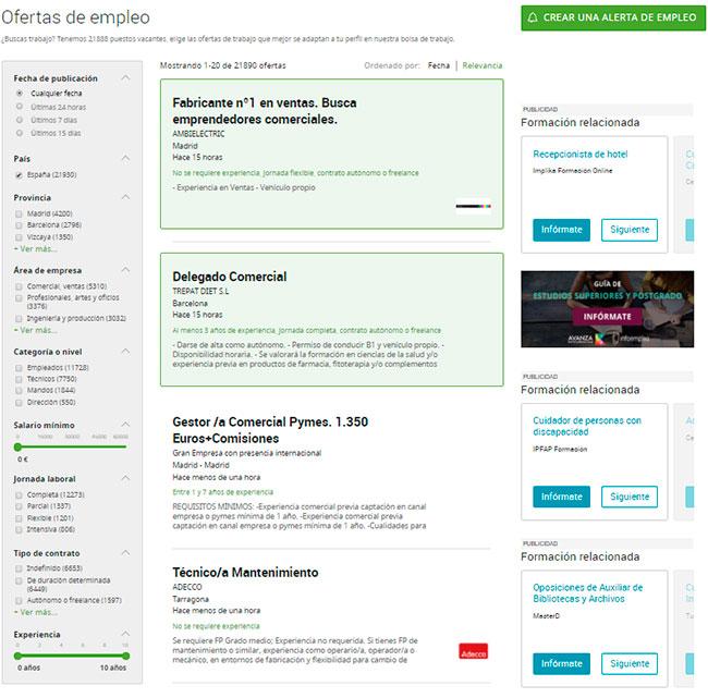 Filtra tu búsqueda de empleo en Infoempleo