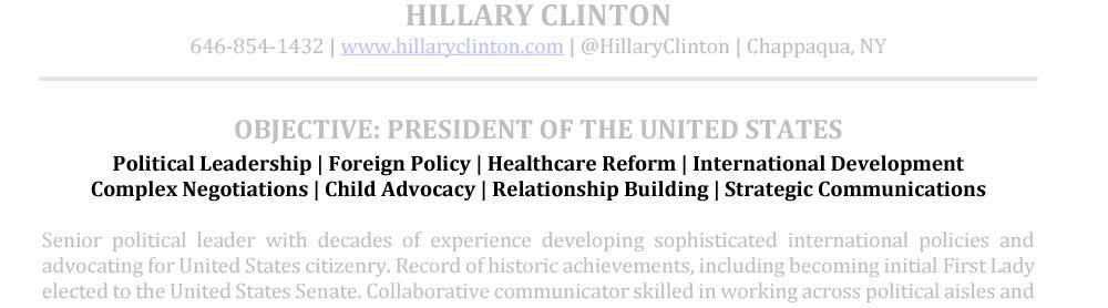Muestra de áreas de especialización de campo de CV senior Hillary Clinton