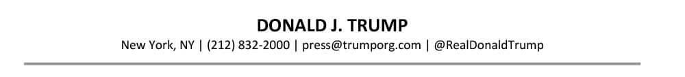 Ejemplo de encabezado de CV principal, Donald Trump