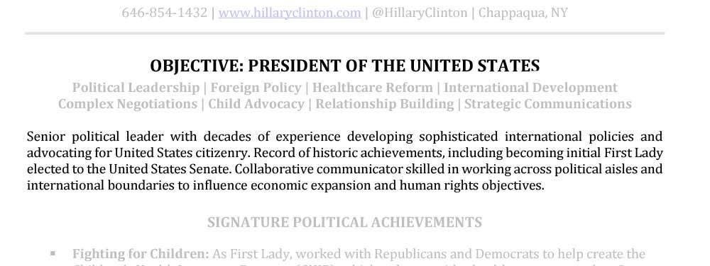 Ejemplo abstracto profesional abstracto senior Hillary Clinton