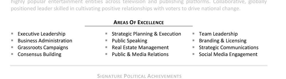 Ejemplo de áreas de especialización de campo de CV senior Donald Trump