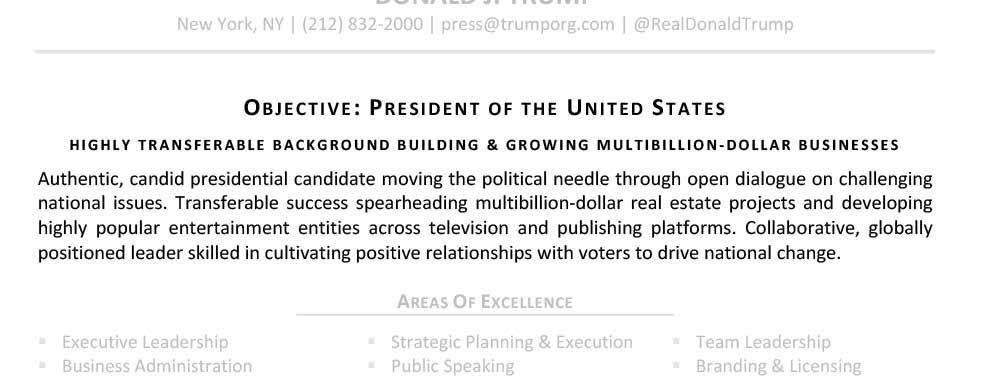 Resumen para profesionales para profesionales, resumen, Donald Trump