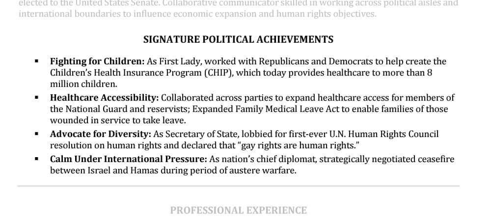 Ejemplos de logros en el currículum vitae senior de Hillary Clinton