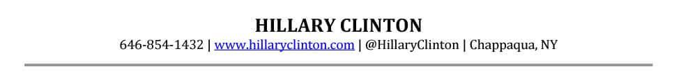 Ejemplo de encabezado de CV principal, Hillary Clinton
