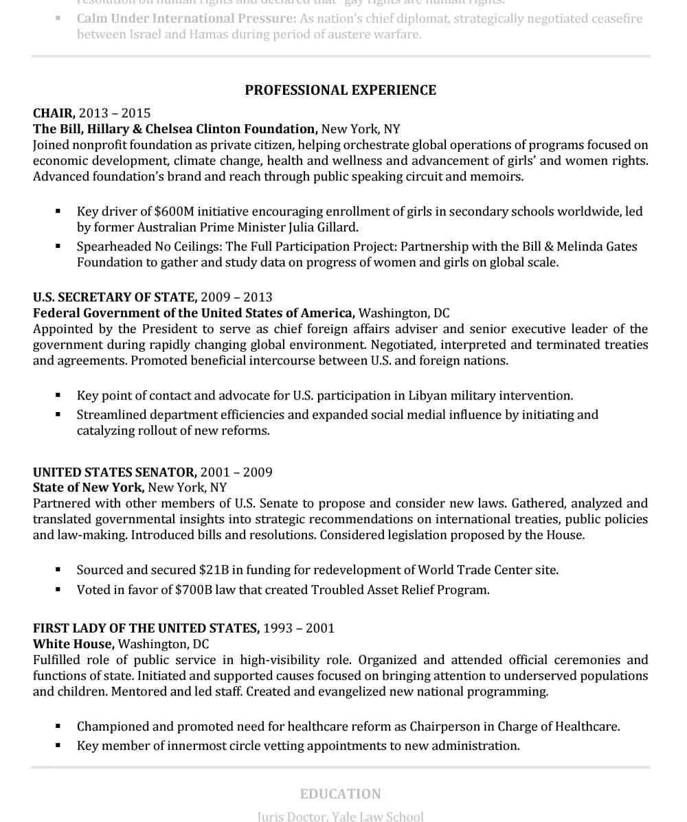 Ejemplo de curriculum vitae senior Sección de experiencia profesional de Hillary Clinton