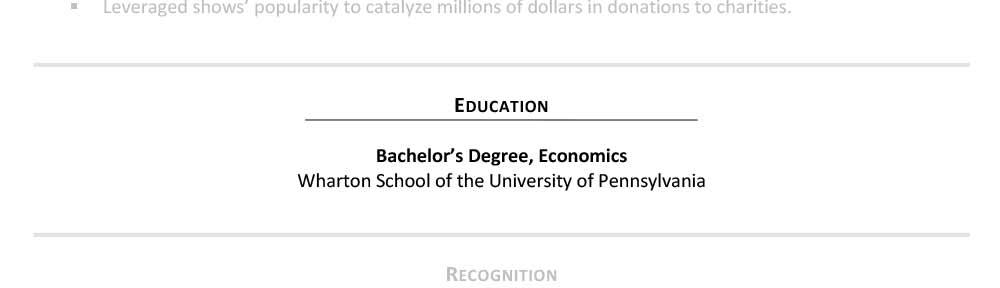 Ejemplo Sección de educación de CV senior de Hillary Clinton
