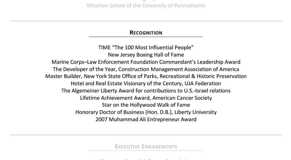 Ejemplo es el apartado de reconocimiento del CV para personas mayores Donald Trump