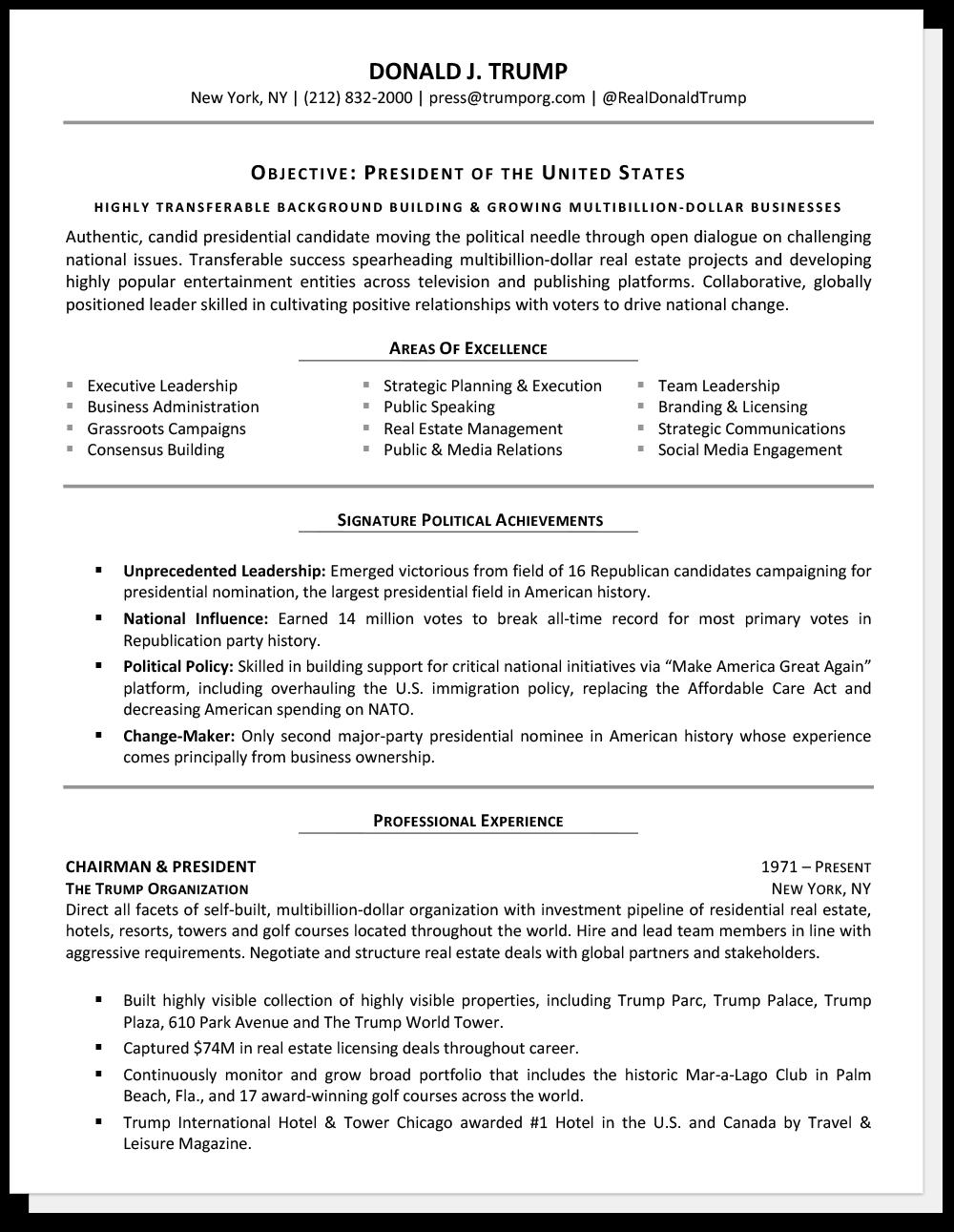 Ejemplo de currículum vitae para personas mayores Donald Trump