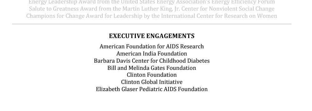 Ejemplo de CV de la sección de participación ejecutiva de Hillary Clinton para personas mayores