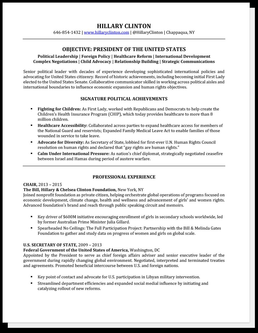 Ejemplo de CV senior Hillary Clinton